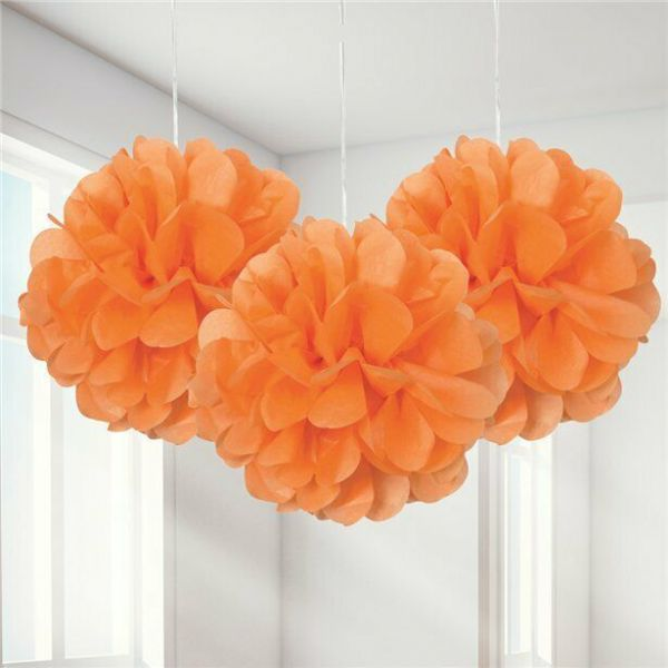 Halloween Orange Pom Pom Decoration x 3 - 23cm